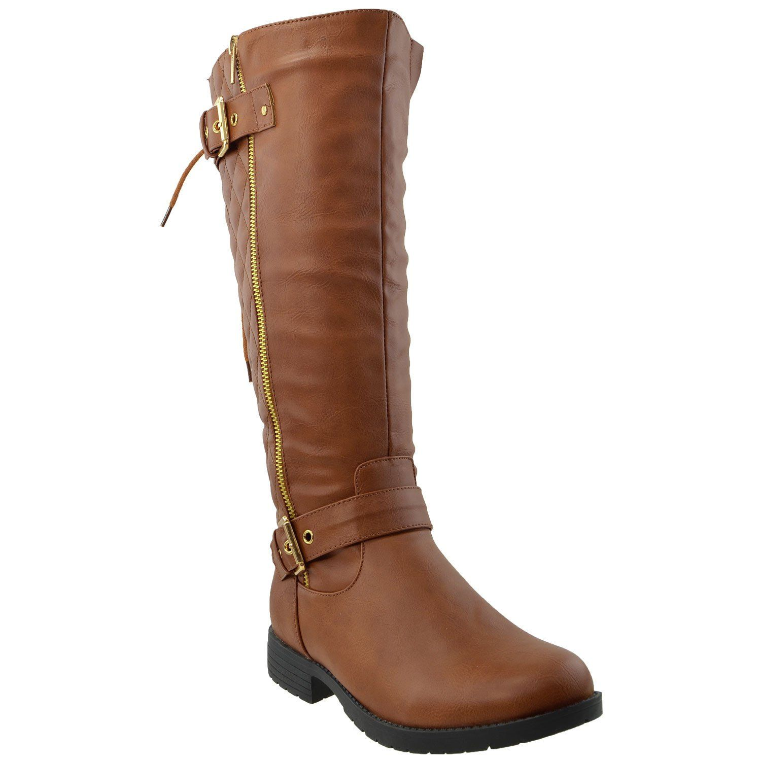 Womens Knee High Boots Quilted Back Lace Up Adjustable Strap Shoes Brown Womens High Heel Boots Boots Knee High Boots
