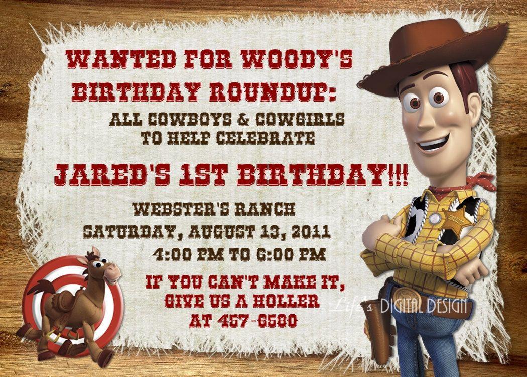 Toy Story Birthday Invitation Woody Bullseye Photo Option ...