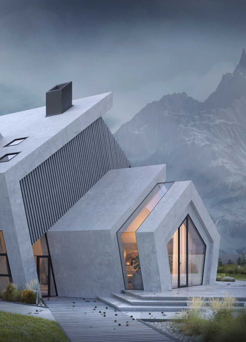 the concrete 'pentahouse' by wamhouse is inspired the shape of mountains