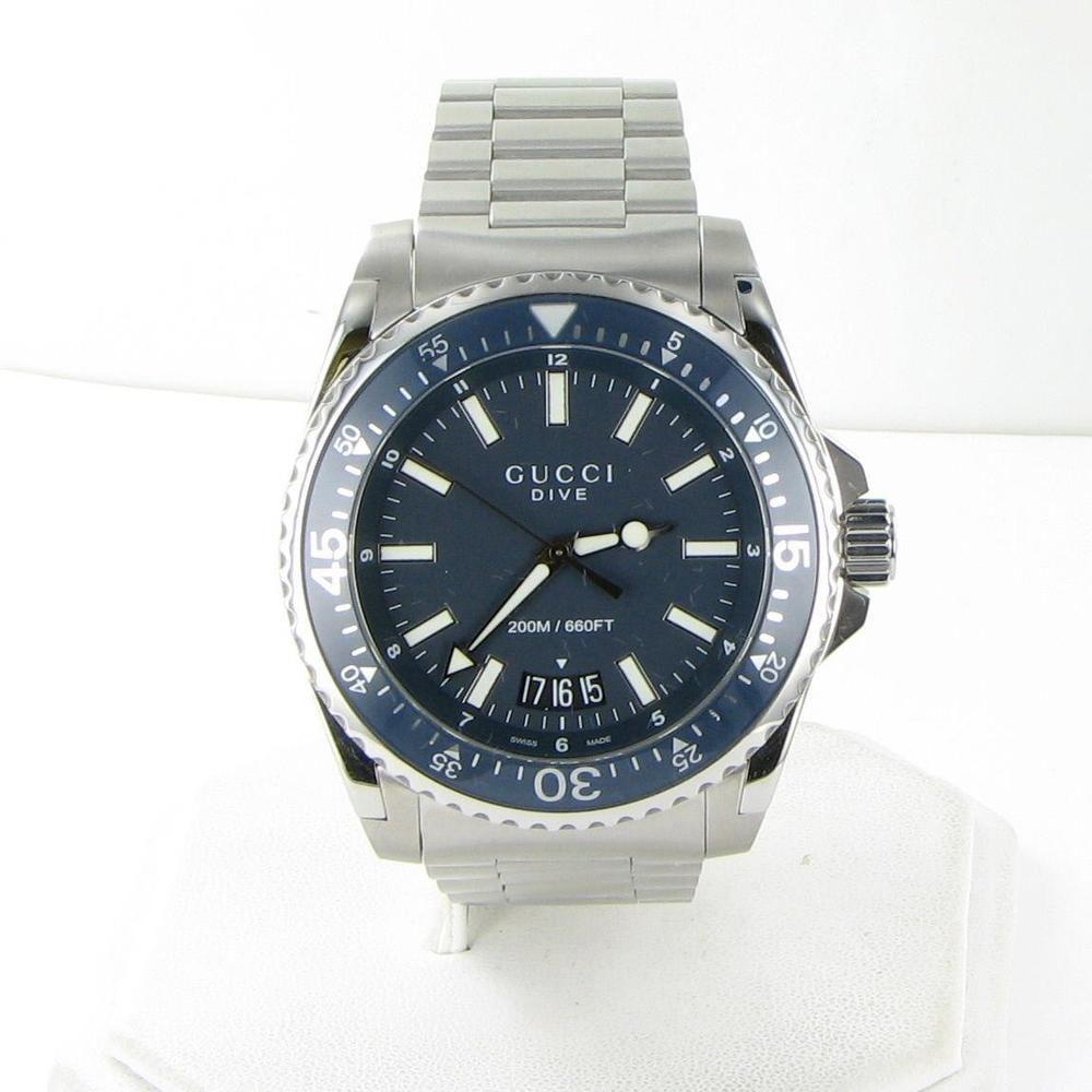 08b65b7a7cb Gucci YA136203 Dive XL Blue Dial Watch Mens Steel Quartz 45mm Box ...