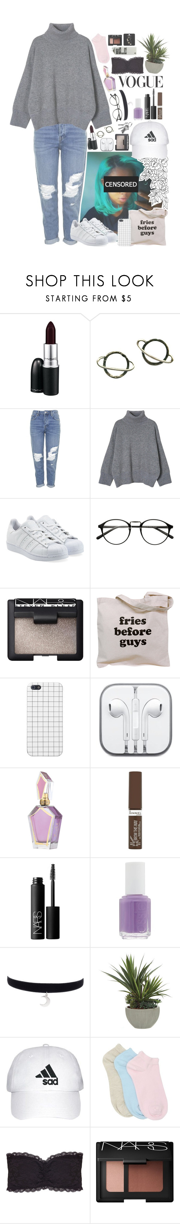 """""""Untitled #206"""" by rosita562 ❤ liked on Polyvore featuring MAC Cosmetics, Stefanie Sheehan Jewelry, Topshop, adidas Originals, NARS Cosmetics, CO, Rimmel, Essie, Lux-Art Silks and M&Co"""