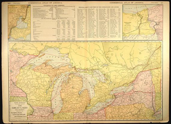 Great Lakes Map EXTRA LARGE Lake Michigan Huron Erie Superior Map