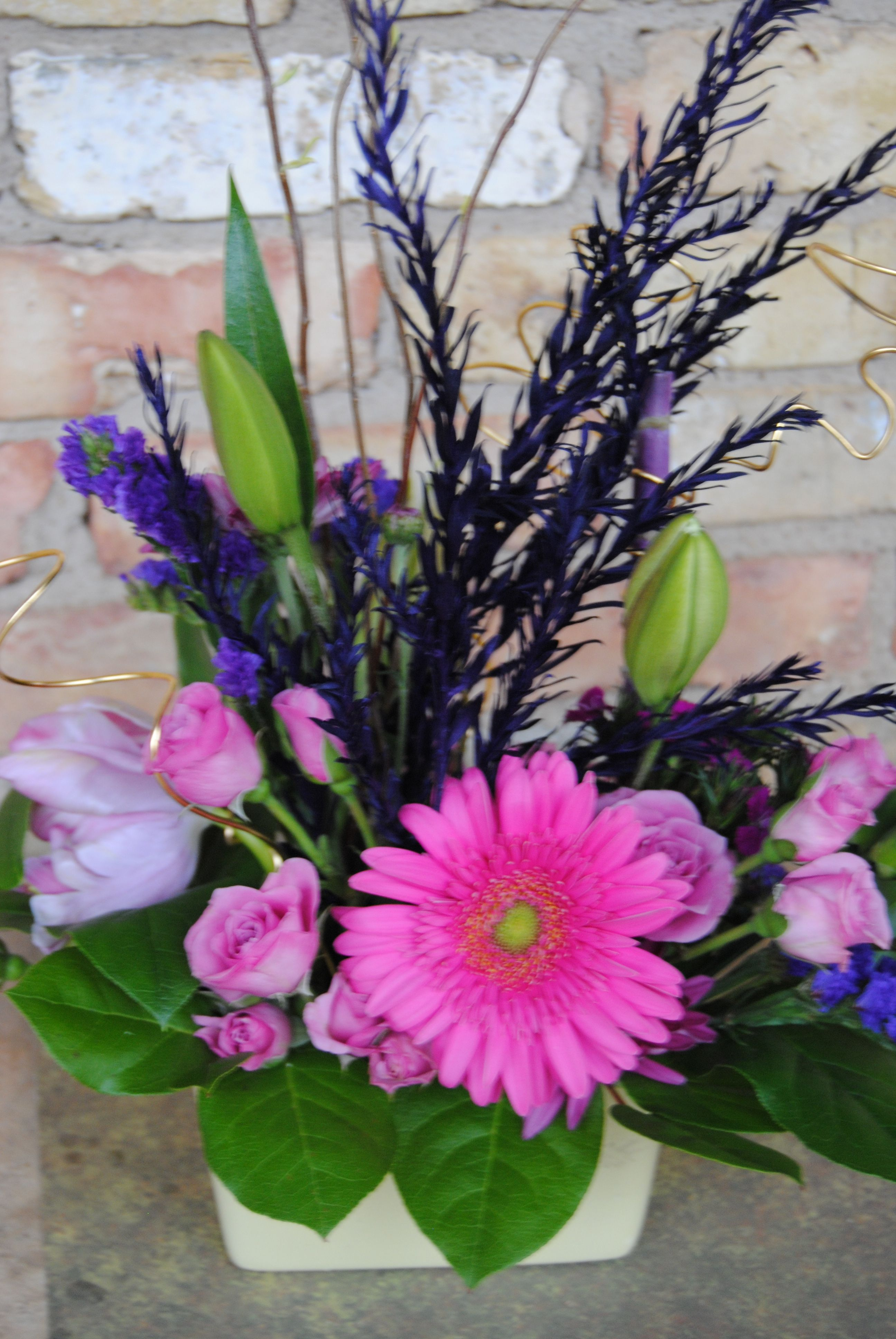 Purple Flowers Pink Gerber Daisy Small Spring Floral Arrangement