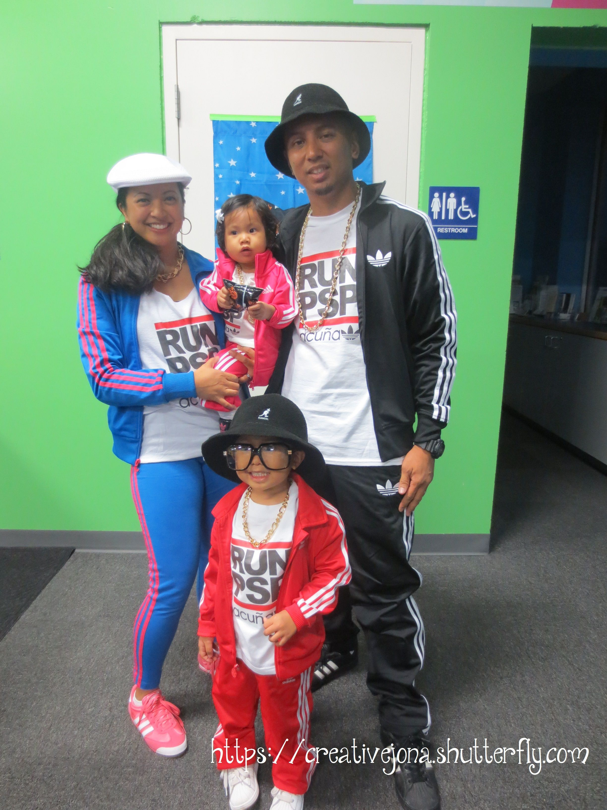 Halloween family costume Breakdancer, bboy, Adidas, Run DMC