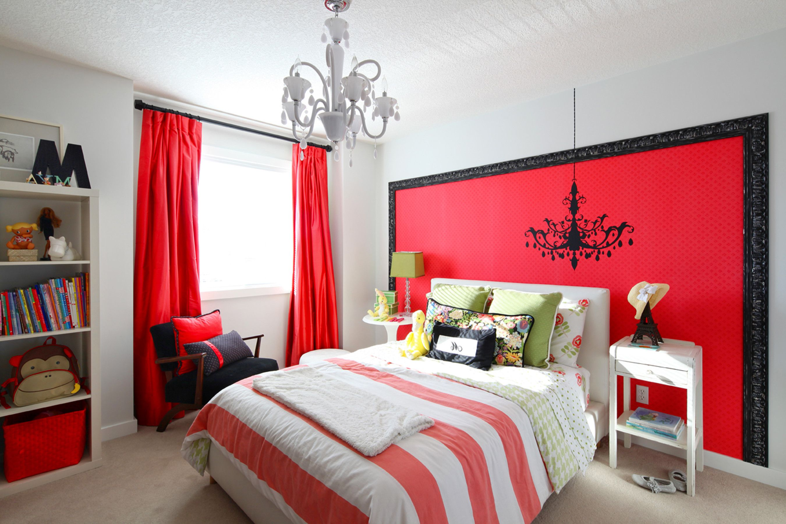 Vibrant Red Girls Rooms Theme In White Walls Light Gray And Pretty French Bedroom Decor Bedroom Red Girl Bedroom Decor