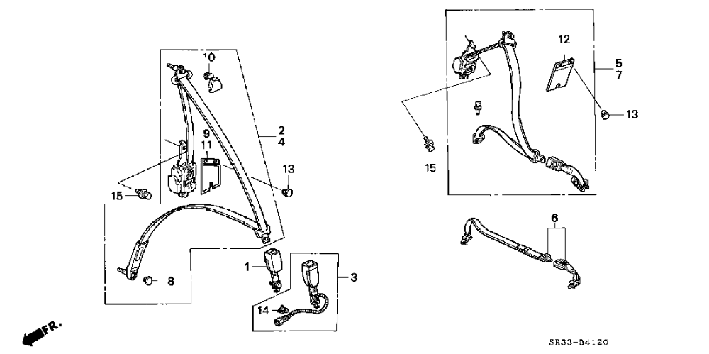 1995 civic belt diagram 1995 honda civic si 3d 5mt seat belt honda civic si  honda civic  1995 honda civic si 3d 5mt seat belt