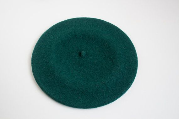 Vintage Wool Beret, Green Woolen Hat, Czechoslovakia Woolen Beret, Retro Fashion, Vintage Clothing, Made in USSR LittleRetronome on Etsy