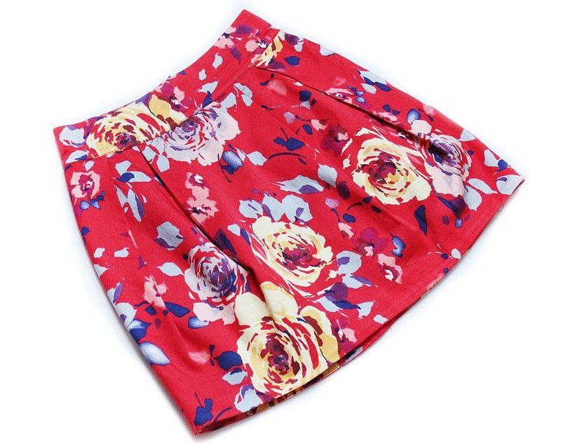 Zara Czerwona Spodniczka Mini W Kwiaty 32 34 Xs Fashion Floral Tie Zara