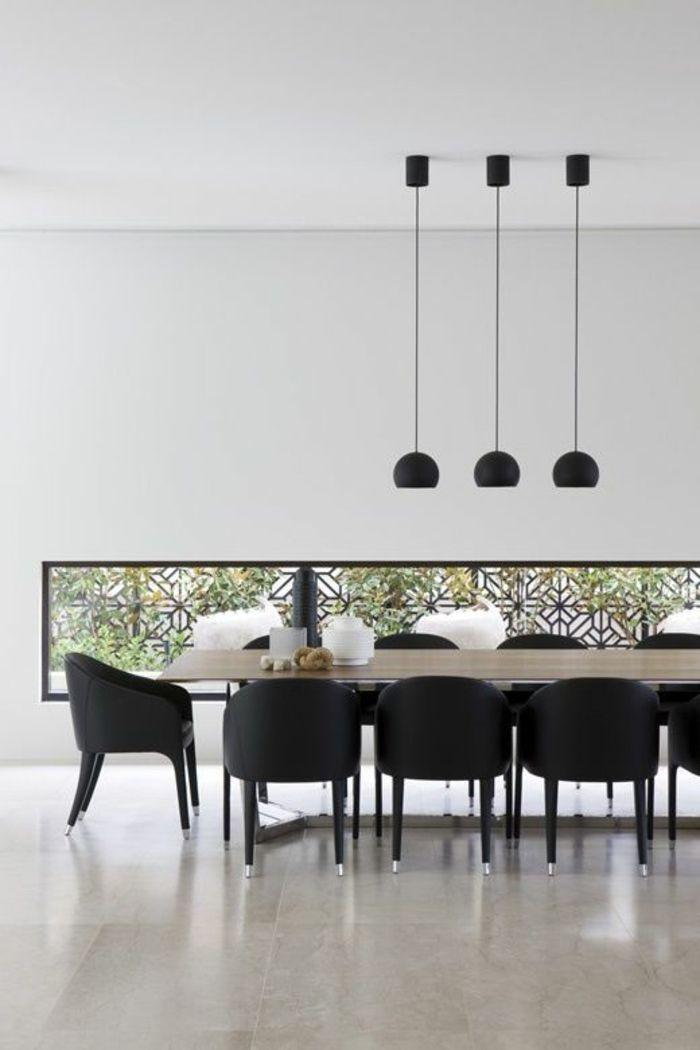 lamparas colagantes negras mesa comedor