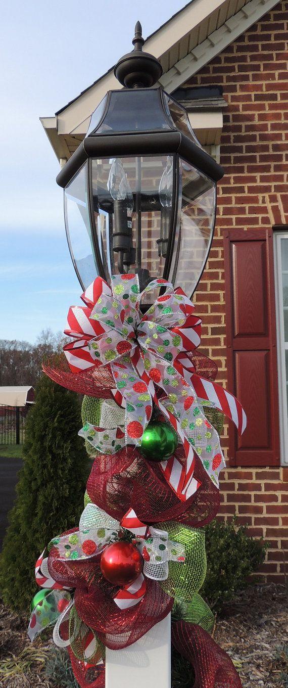 deco mesh christmas lamp post garland swag by sparklewithdesigns christmas lanterns christmas lamp post
