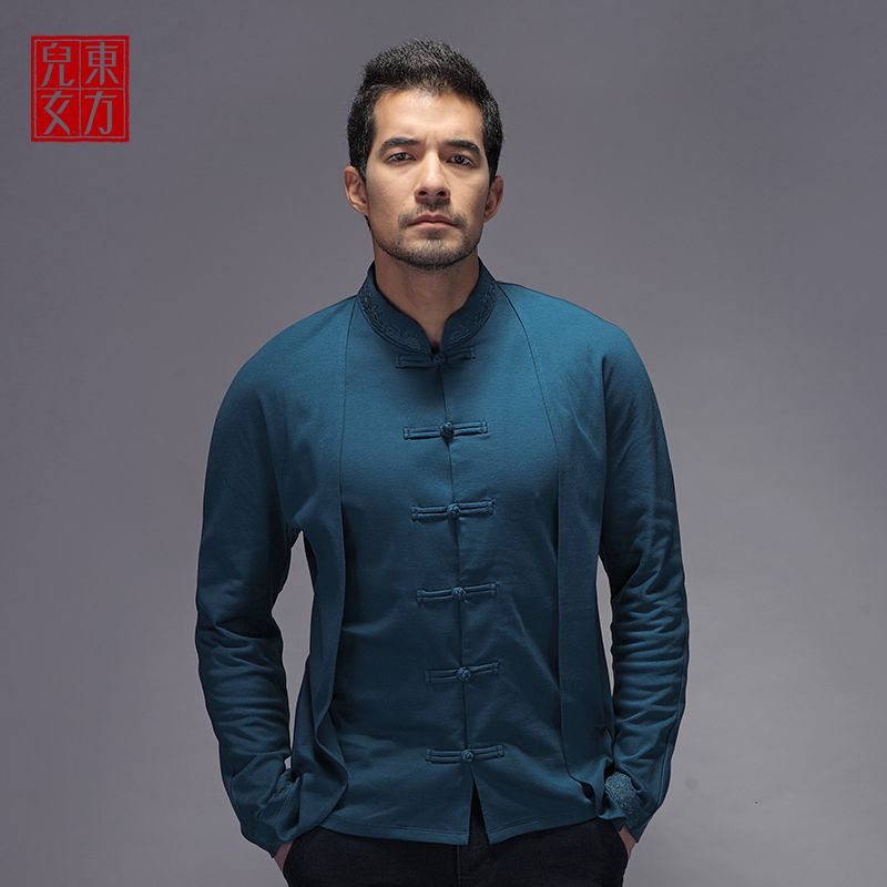 Fantastic Oriental Style Frog Button Blouse - Teal - Chinese Shirts & Blouses - Men