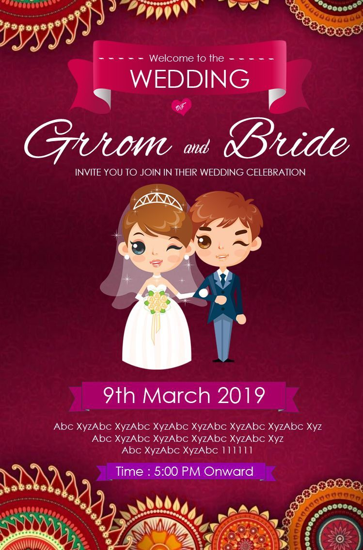 Indian Wedding Invitation Templates In 2021 Wedding Card Templates Marriage Cards Hindu Wedding Invitations