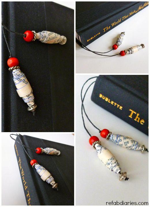ReFab Diaries: DIY: Paper-bead bookmark