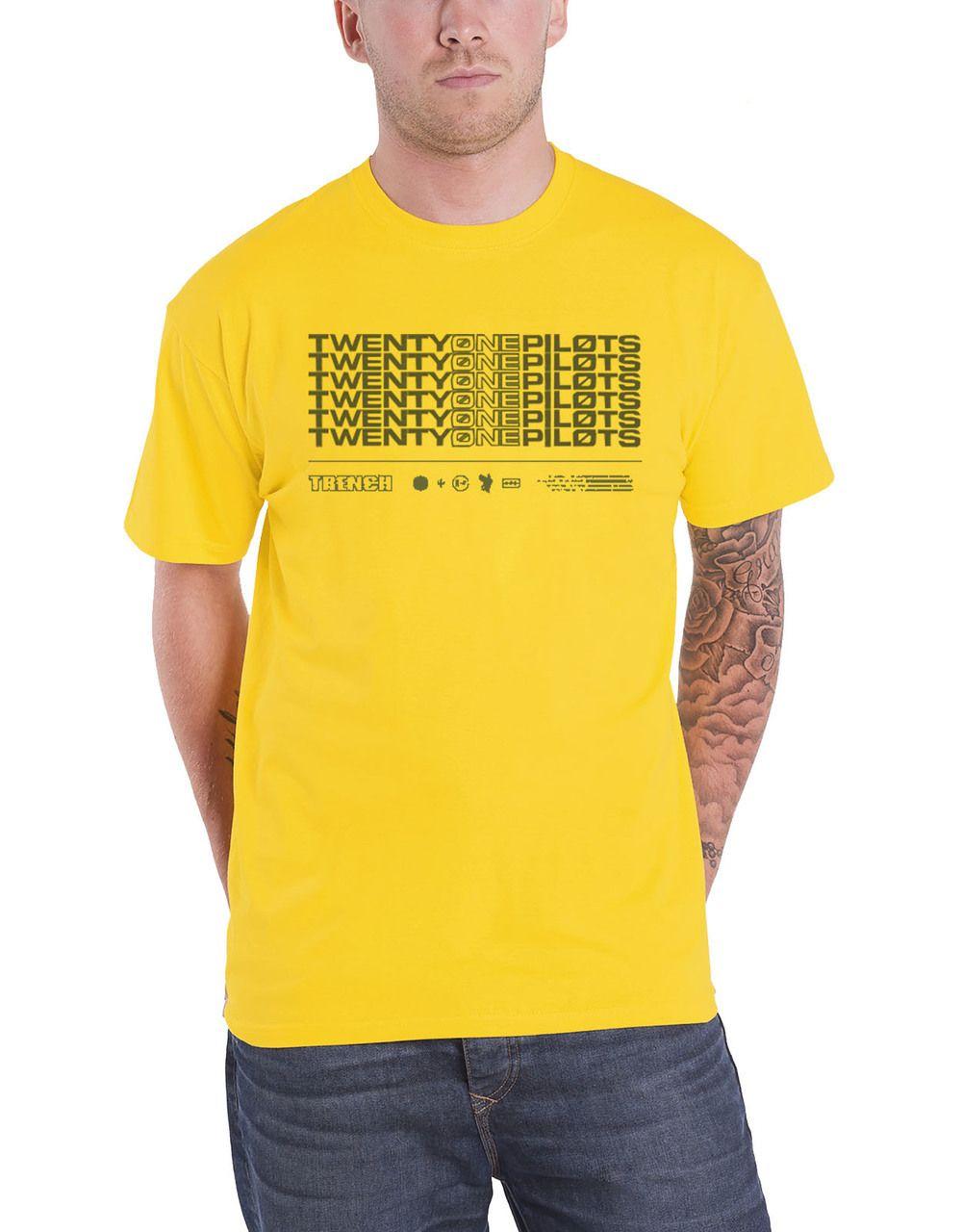 bc330b457 Twenty One Pilots T Shirt Trench Stacker Band Logo Mens Yellow - Paradiso  Clothing