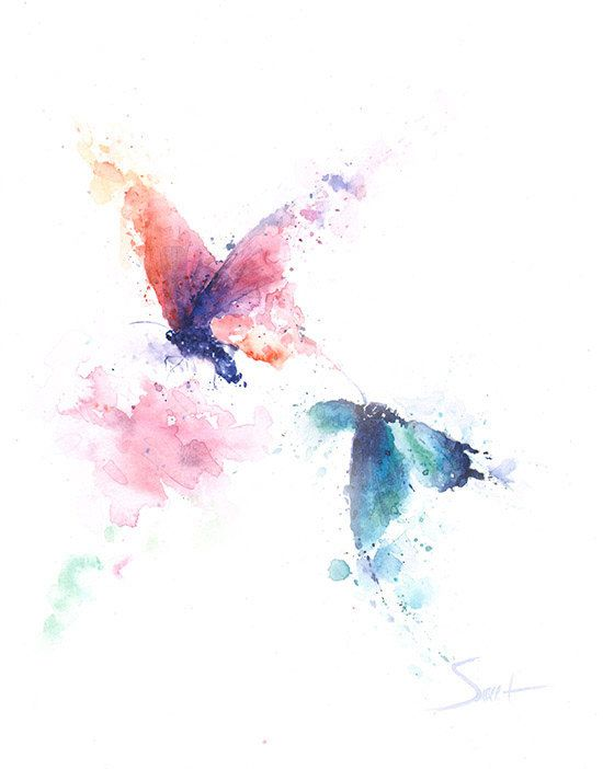 BUTTERFLY ART PRINT Watercolor Butterfly Painting By SignedSweet