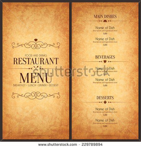 Restaurant menu design Vector menu brochure template for cafe - coffee shop brochure template