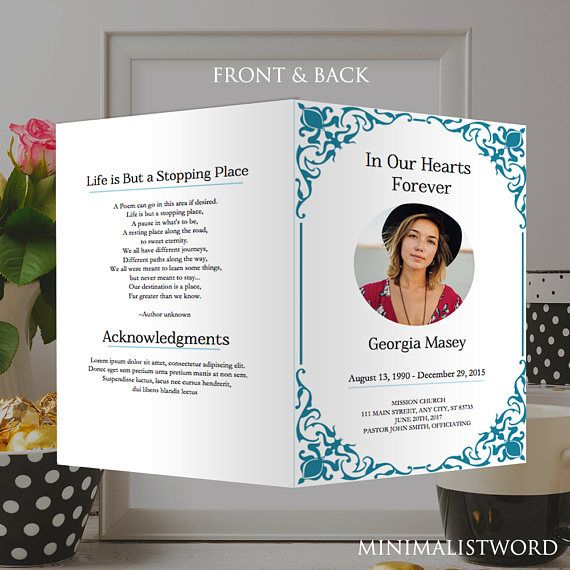 Funeral Program Template - Microsoft Word *Instant Download ...
