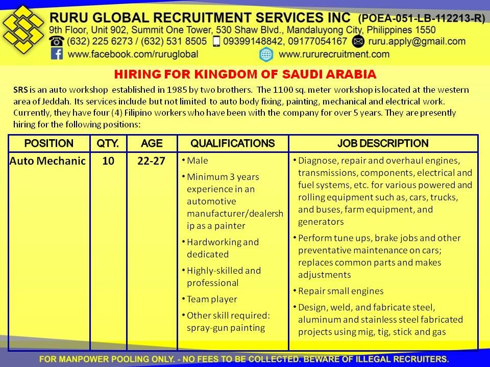 Pin by Ruru Global Recruitment Services, Inc. on Job