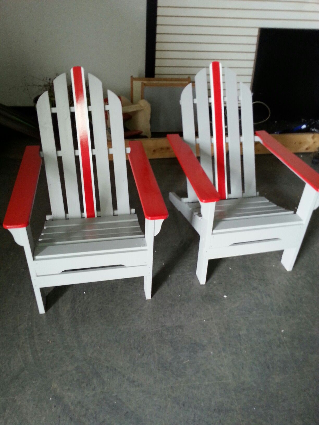 Painted Adirondack chairs in our shop. Marion Ohio