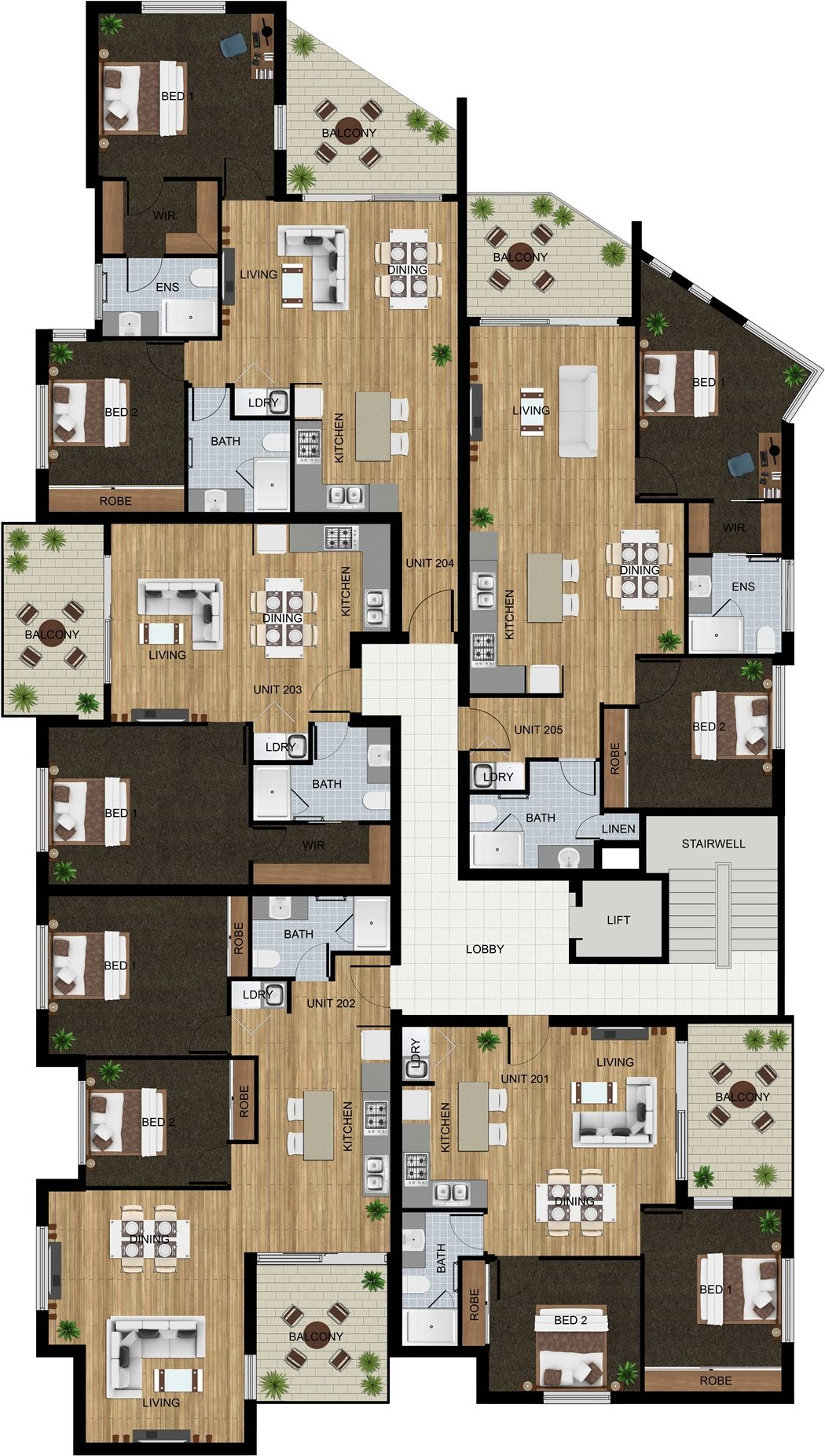 2D floor plan for amulti unit development