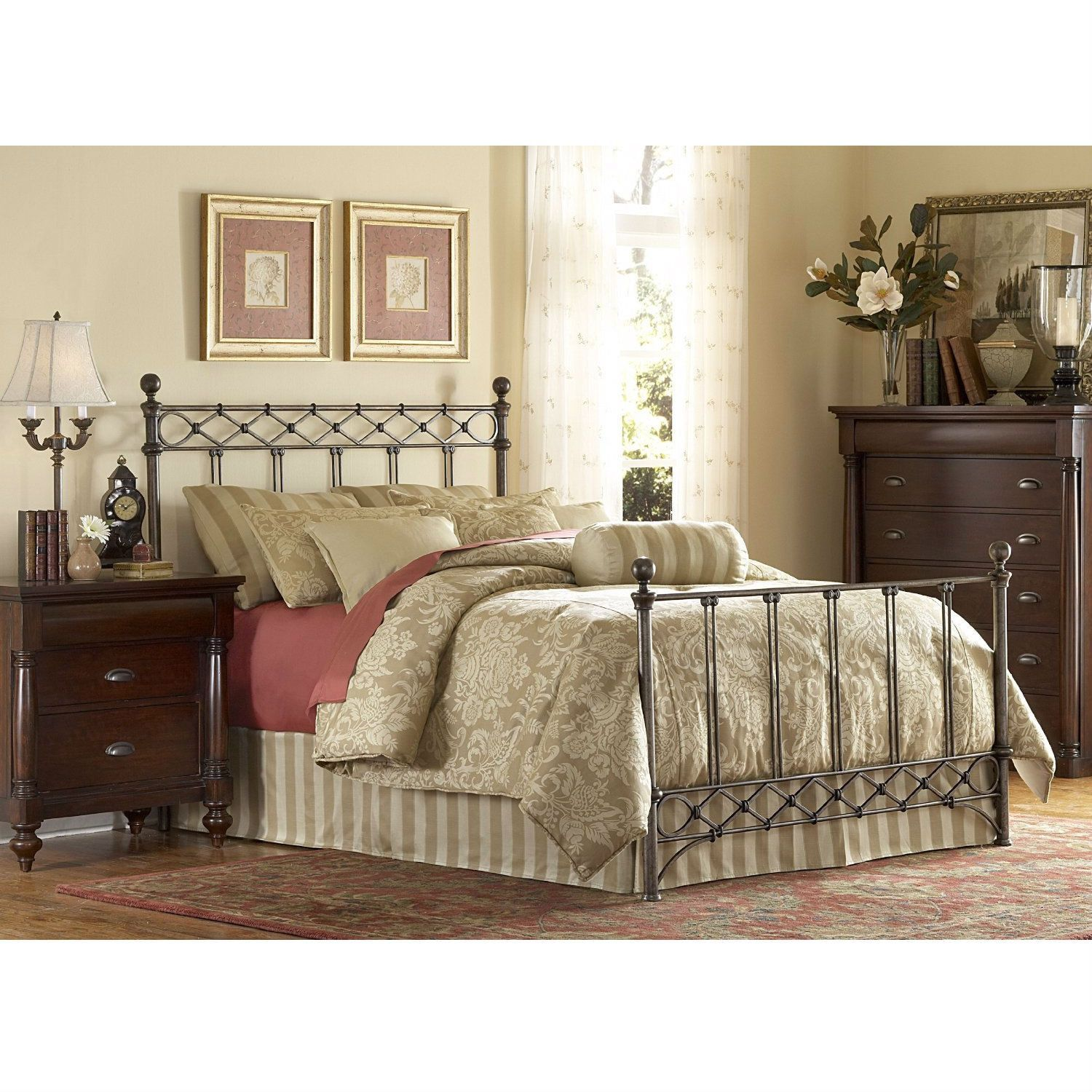 King size Metal Bed with Headboard and Footboard in Copper