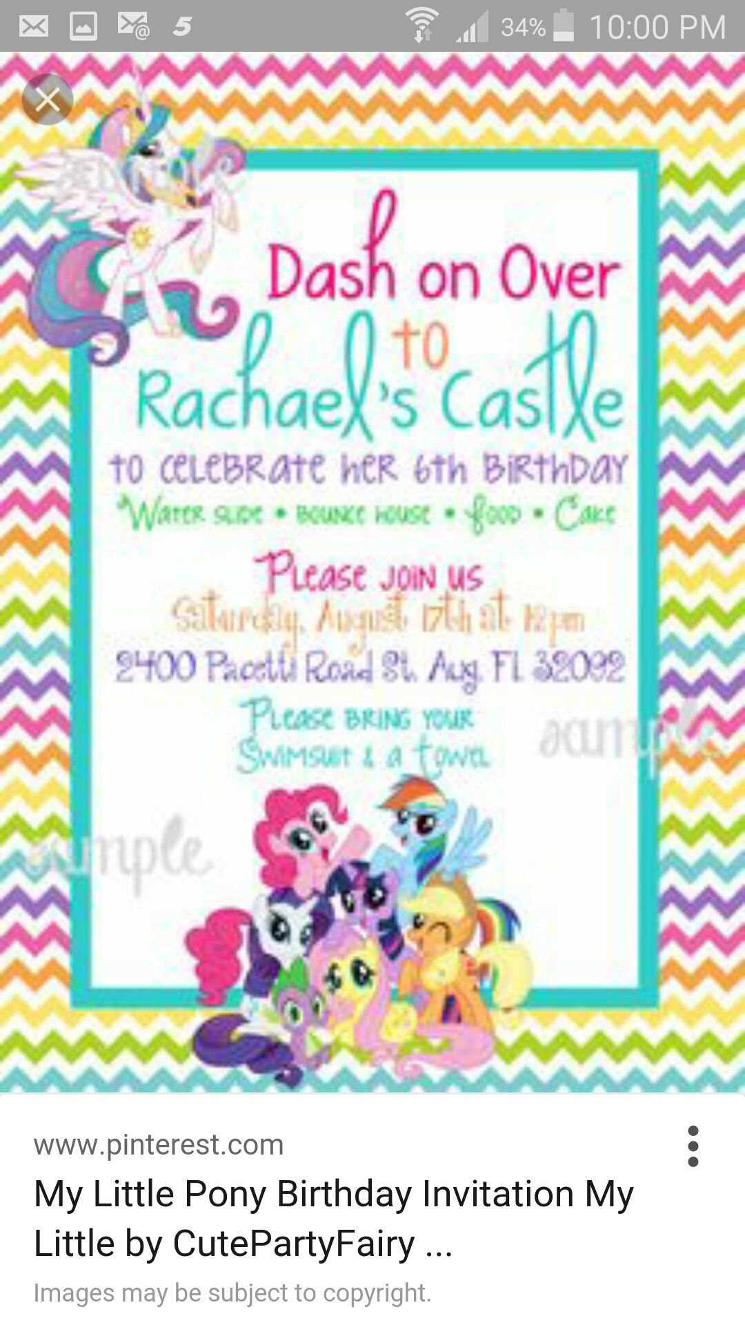 Invitation Idea 5th Birthday Party Ideas Girl My Little Pony