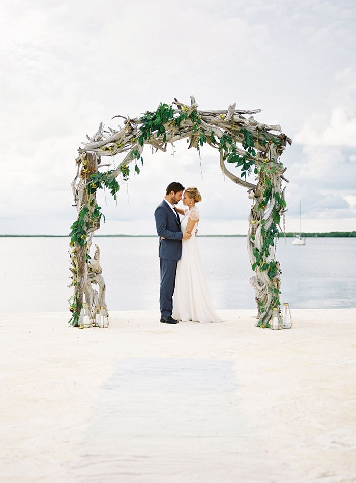 Intimate Beach Ceremony Fl Arch Florida Keys Wedding Cancun Miami