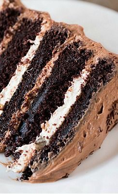 Photo of Six-Layer Chocolate Cake with Toasted Marshmallow Filling & Malted Chocolate Frosting | Brown Eyed Baker