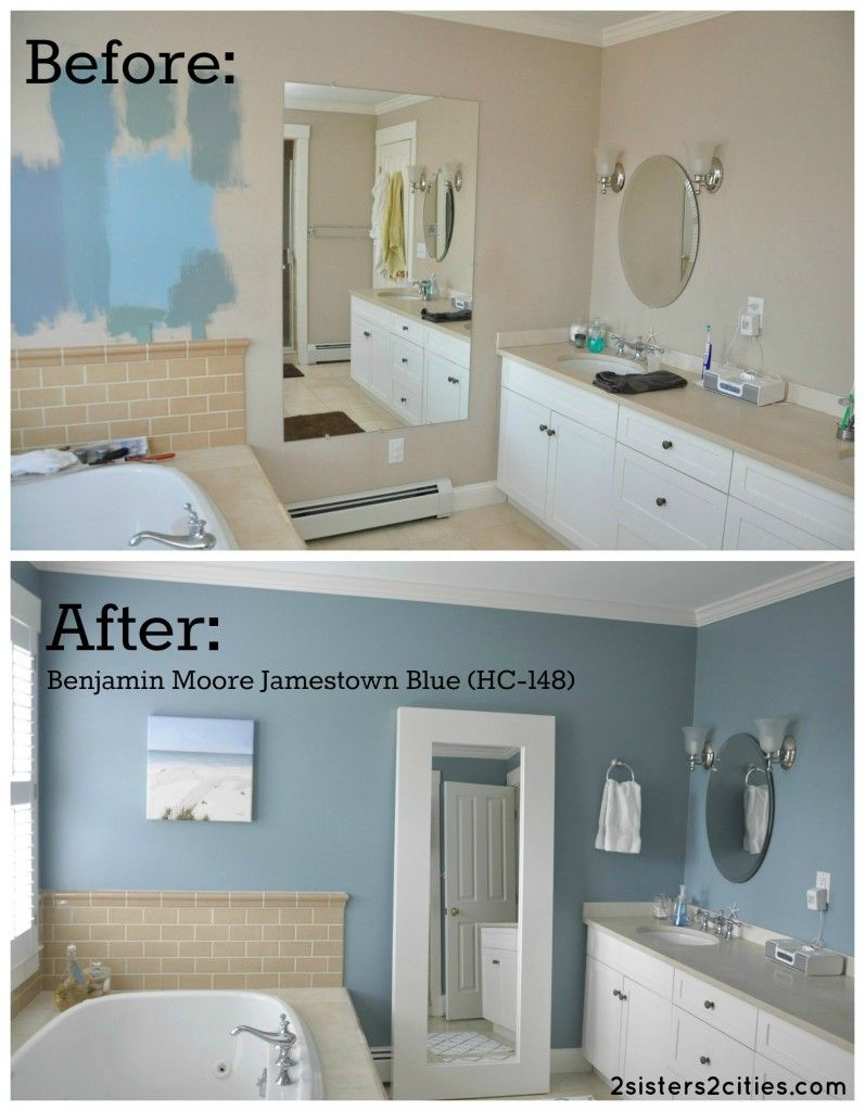 before and after photos of our master bathroom paint color we ended up changing it from a neutral beige color to benjamin moore jamestown blue