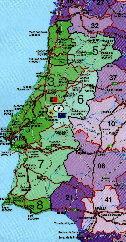 Harta Portugalia Impartita Pe Coduri Postale Asia Map Map Map