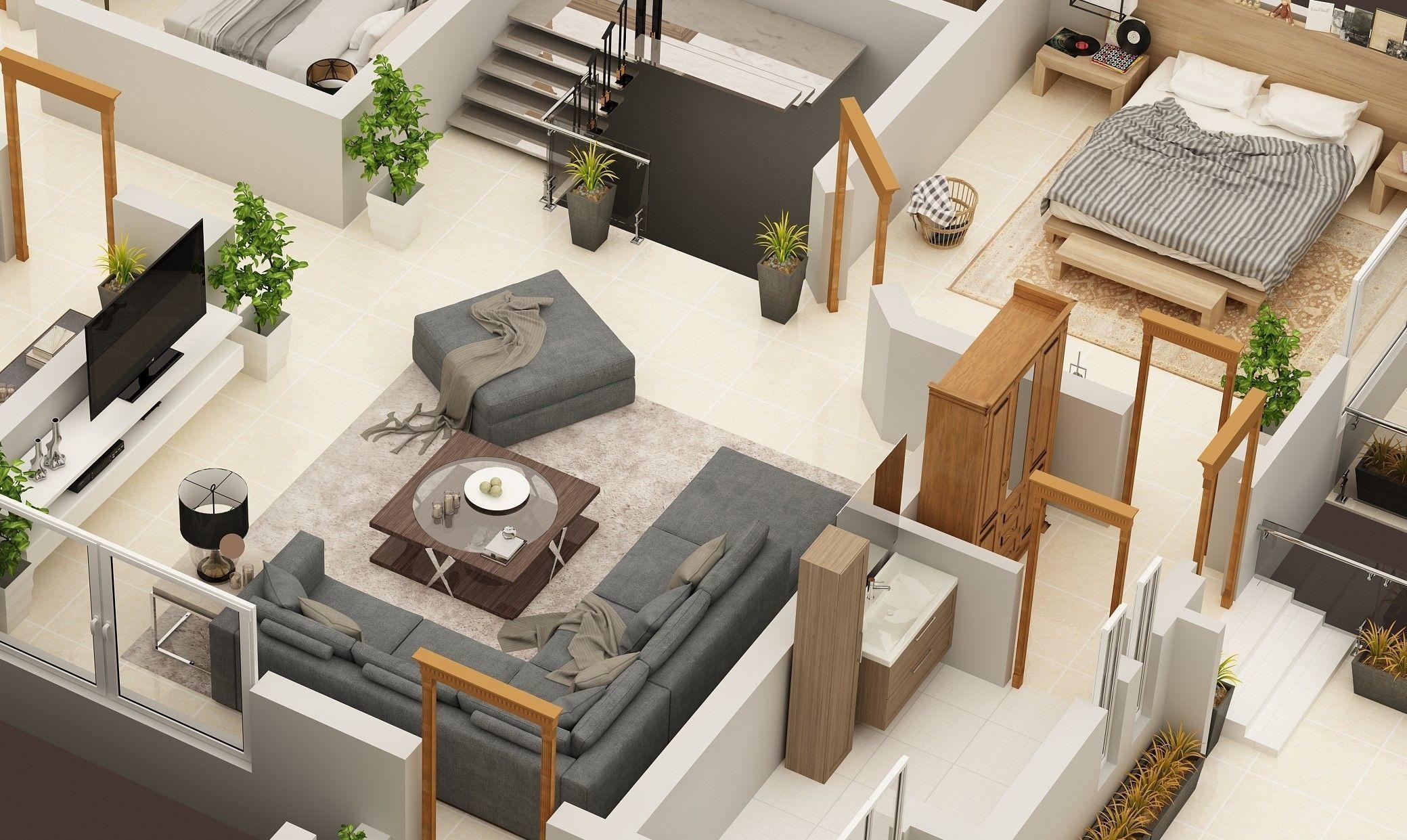 3D FLOOR PLAN OF 1 KANAL RESIDENCE FIRST FLOOR House