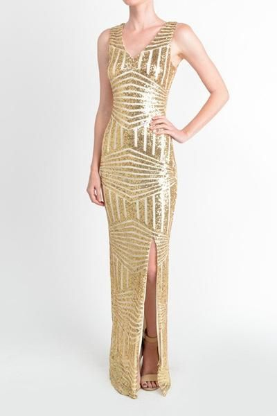 b1f2f68af0b Affordable Floor Length Gold Sequin Bridesmaid Maxi Dress Evening Gown Prom  dress
