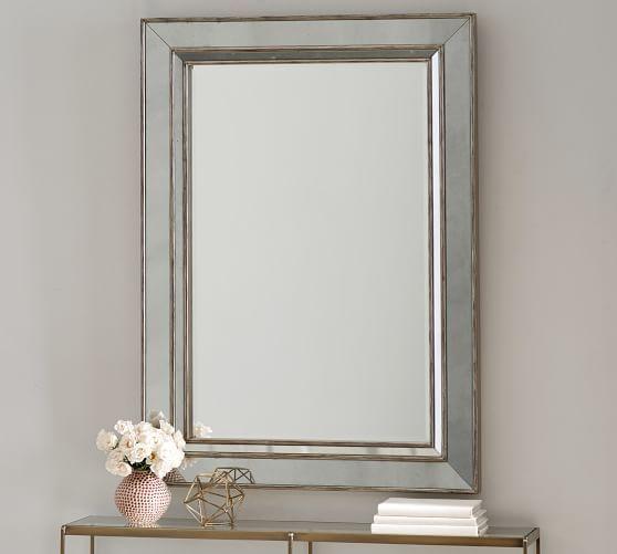 Marlena Antiqued Glass Frame Wall Mirror Rectangular Mirror