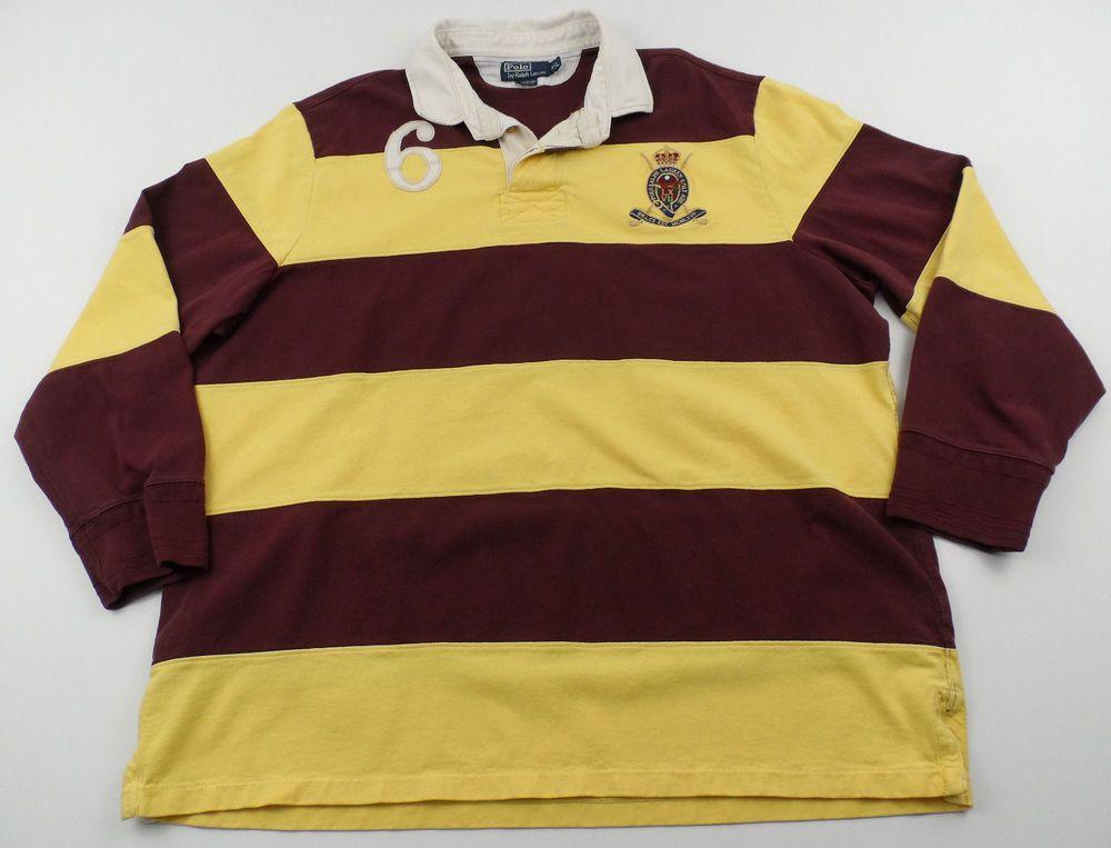 2734cc4de262 Polo Ralph Lauren Striped Rugby Shirt 2XL XXL Long Sleeve Patch Burgundy  Yellow  PoloRalphLauren  PoloRugby