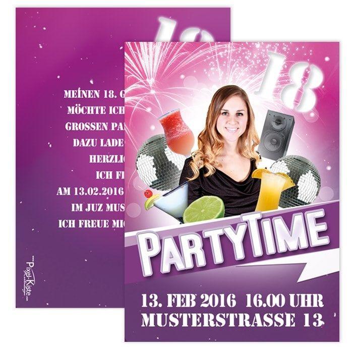 einladung geburtstagsparty zum 18. geburtstag mit foto | party, Einladung