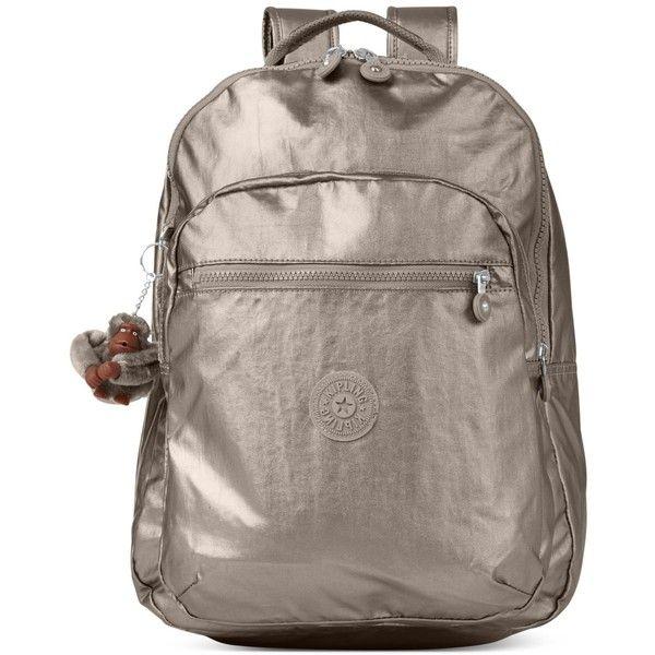 Kipling Seoul Backpack (€115) ❤ liked on Polyvore featuring bags, backpacks, metallic pewter, brown bag, metallic backpack, kipling bags, daypack bag and metallic bag