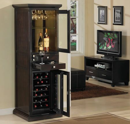 Refrigerated Wine Cabinet With 18 Bottle Dual Zone Thermoelectric Cooler Meridian Espresso Series Via Tresanti Furniture
