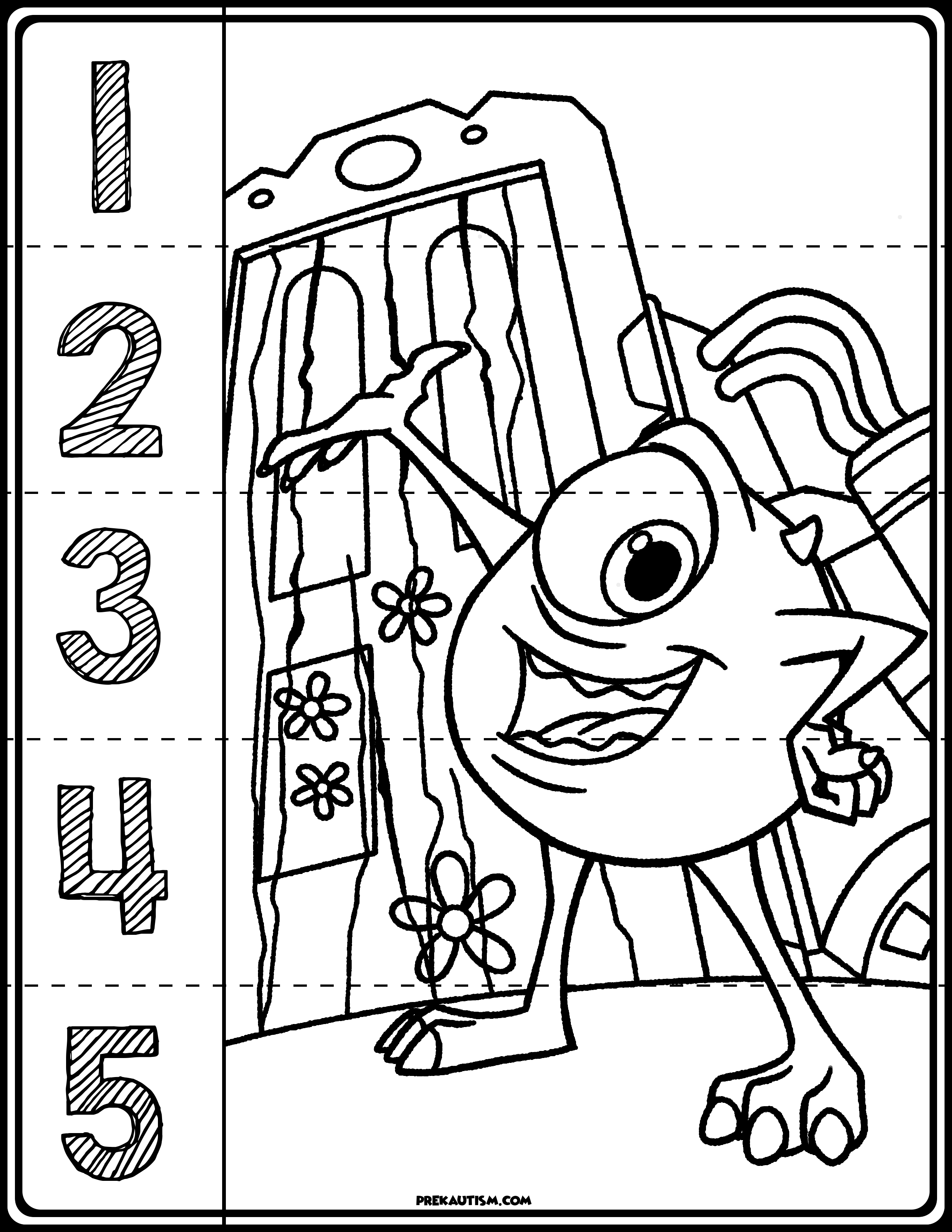 Monster Inc Number Puzzles Monsters Inc Autism Activities Monster Coloring Pages