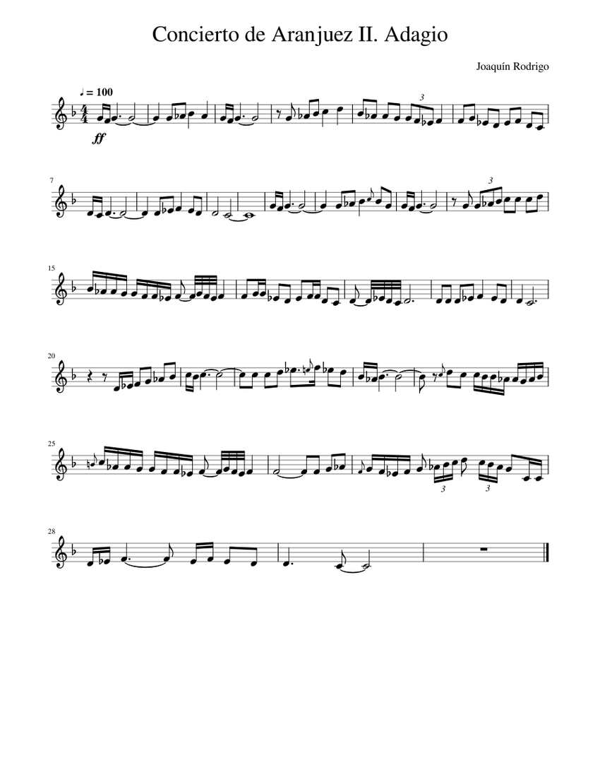 Print And Download In Pdf Or Midi Concierto De Aranjuez Ii Adagio I Do Not Own Any Copyright For This Work In 2021 Music Tabs Sheet Music Free Sheet Music