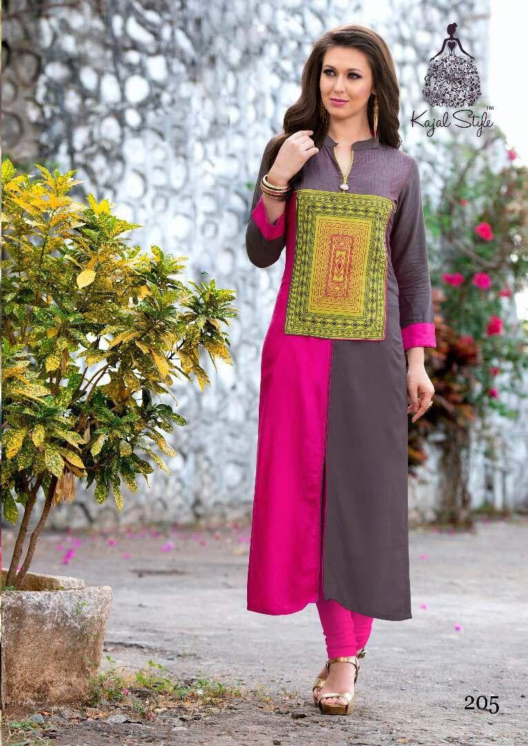 7cd2d386b9 Gray & Pink Colorblock Kurti Kurta Designs Women, Tunic Designs, Pink Suits  Women,