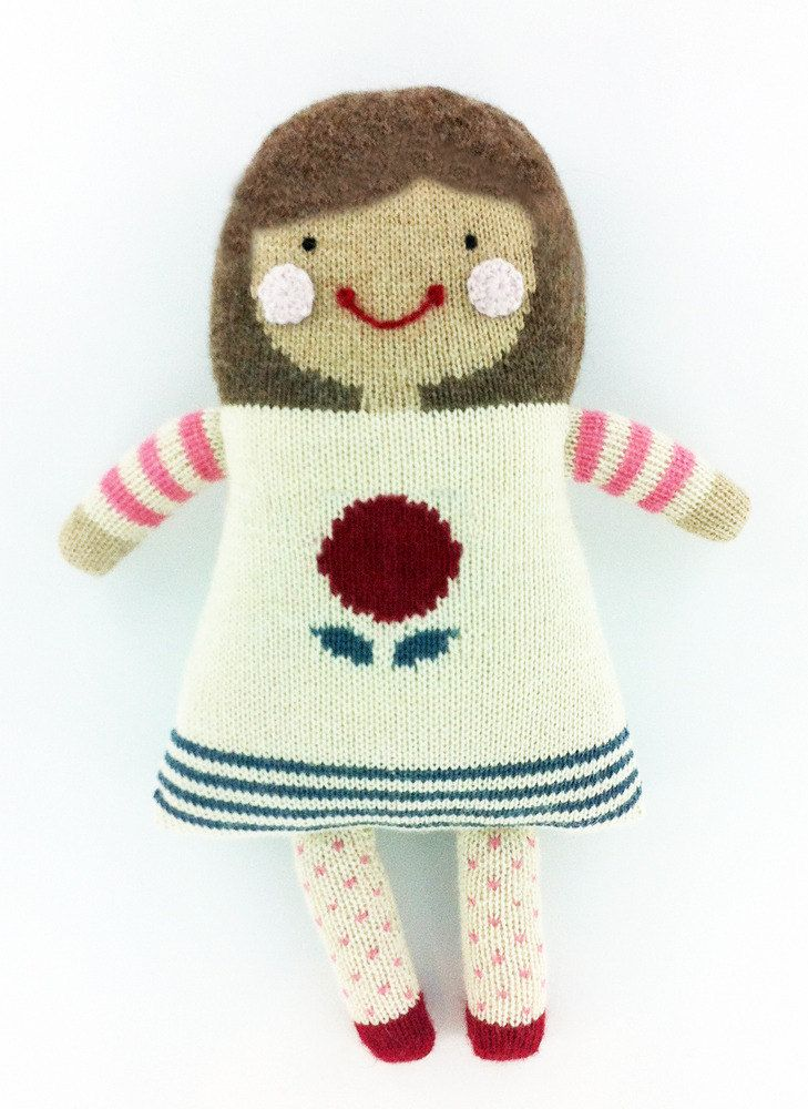 Hand Knit Baby Doll - Brunette (by jenniferv via Etsy)