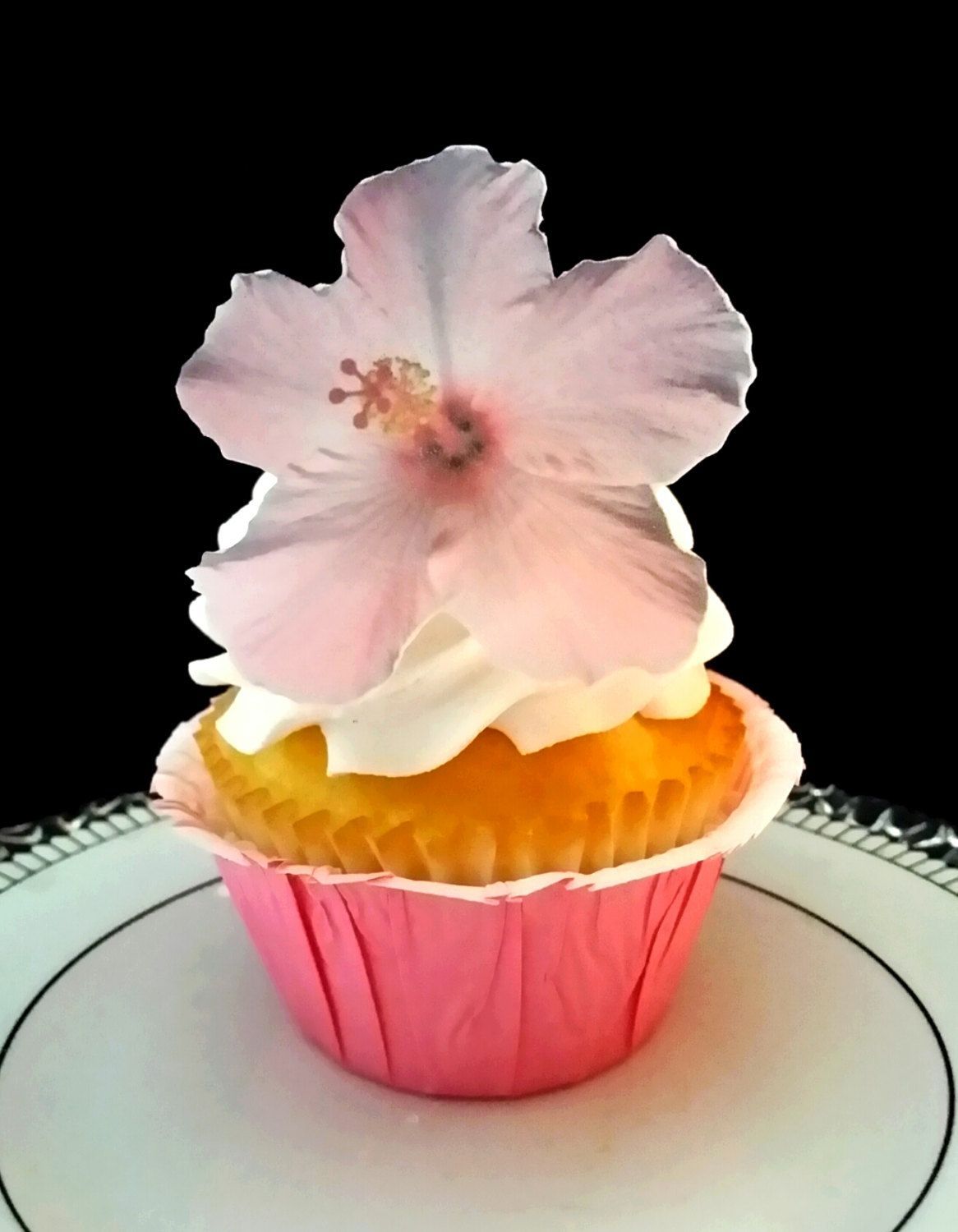 Edible Wafer Pink Hibiscus Flower Cakecupcake Toppers Set Of 12 By