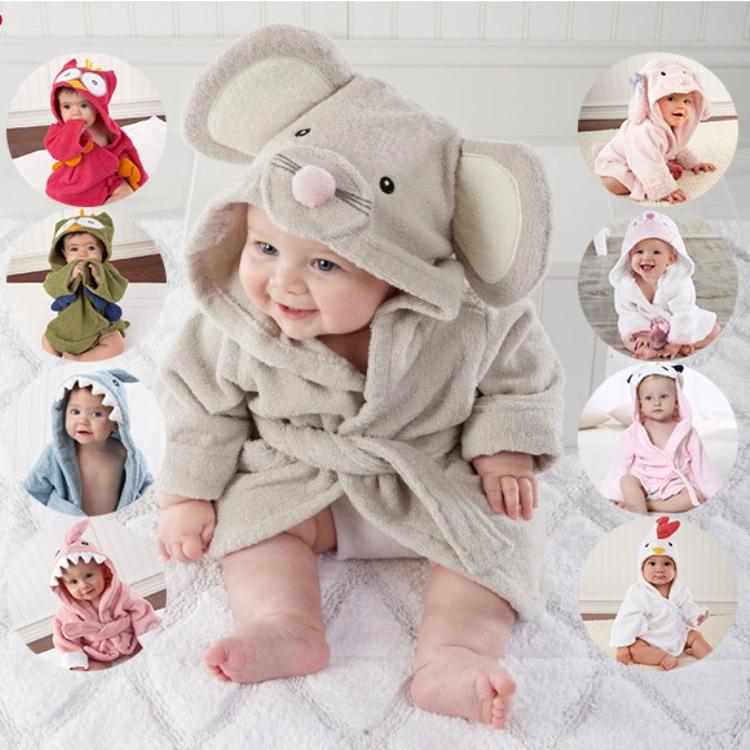 Soft Cartoon Baby Bath Towels Hooded Towel Newborn Blanket Swaddle Baby Bathrobe For Infant Toddler Girls Boys Baby Bath Robe Baby Boy Blankets Baby Bath Towel