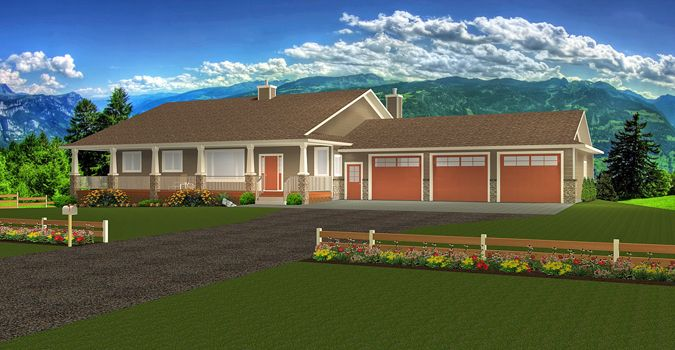 Plan 2017118 Ranch Style Bungalow With Walkout Basement A Well Laid Out Home With Everything That A Country Barn Style House House Plans Bungalow House Plans