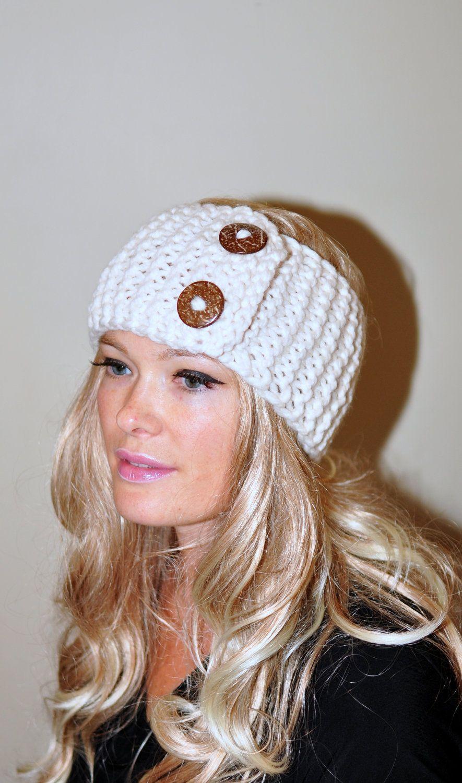 Earwarmer Buttons Winter WOOL Crochet Headband Chunky Ear warmer ...