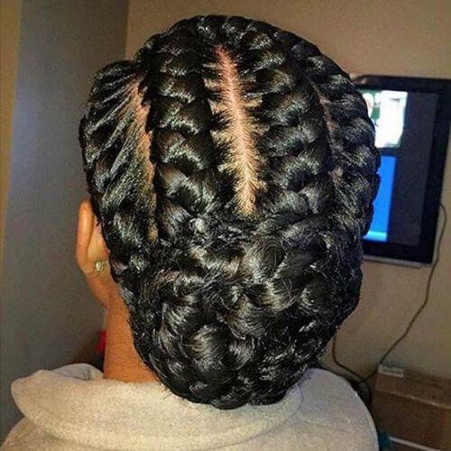 Low Braided Bun Goddess Braids Hairstyles Natural Hair Styles Braided Hairstyles