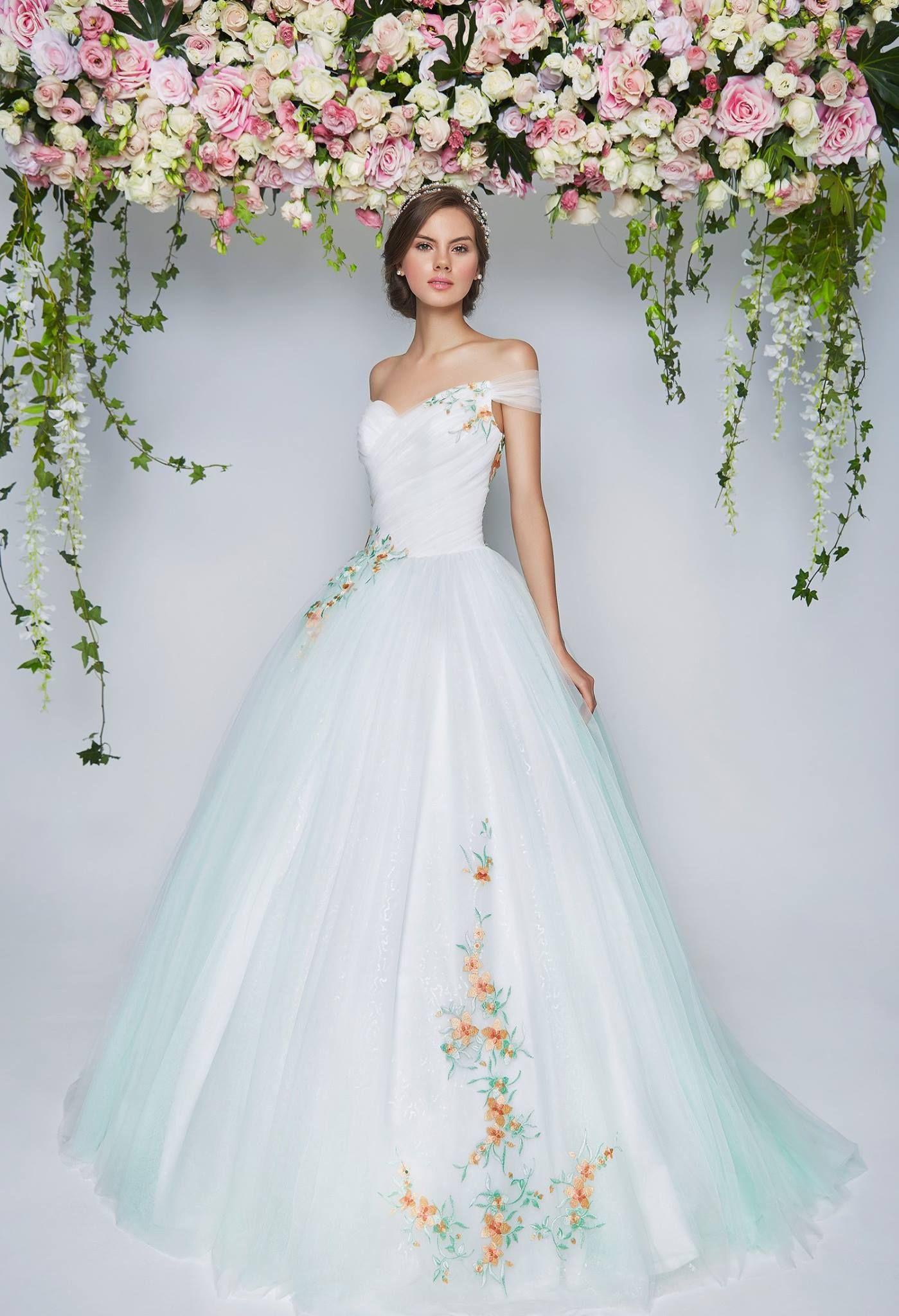 Light blue off shoulder wedding gown embroidered flowers