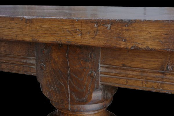 Moulded Rails Pegged Mortise And Tenon Joints 2 Thick Top On An Elizabethan Style Oak Refectory Table