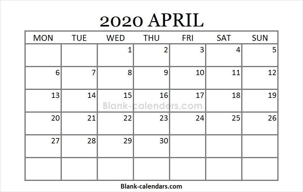 Printable Blank April Calendar 2020 July calendar