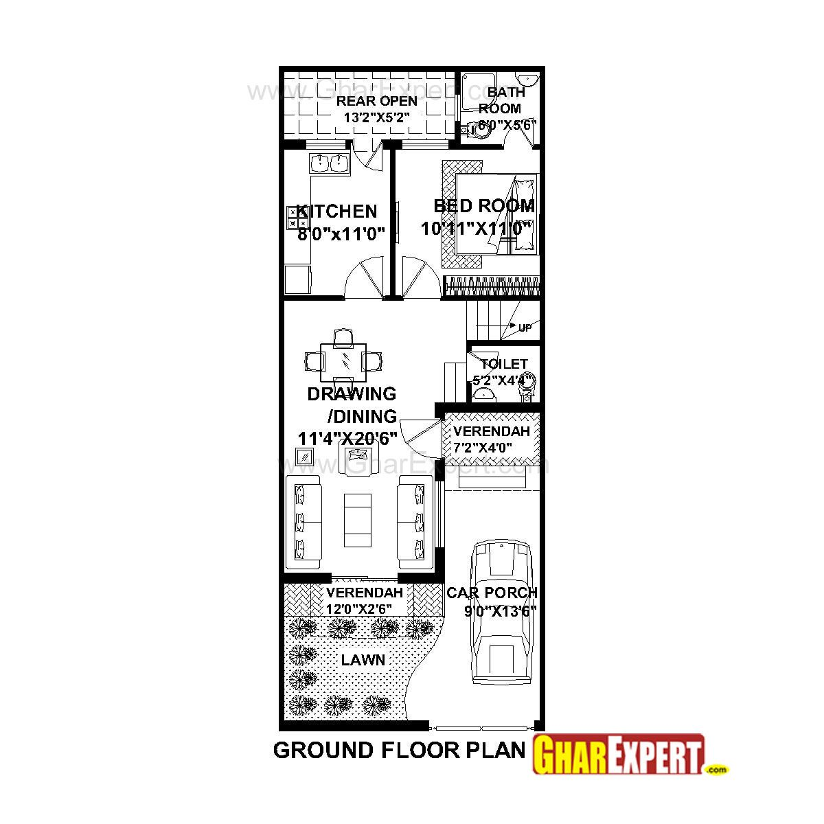 House plan for 20 feet by 50 feet plot plot size 111 for What is a plot plan of a house